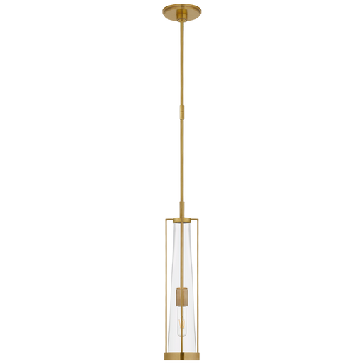 Calix Tall Pendant - Hand-Rubbed Antique Brass & Clear Glass