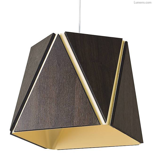 Calx Large Pendant - Dark Stain Walnut/Brushed Brass Finish