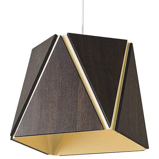 Calx Small LED Pendant - Dark Satined Walnut with Brushed Brass Finish
