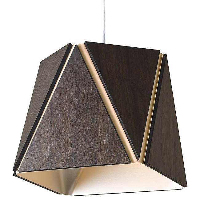 Calx Small LED Pendant - Dark Satined Walnut with Rose Gold Finish