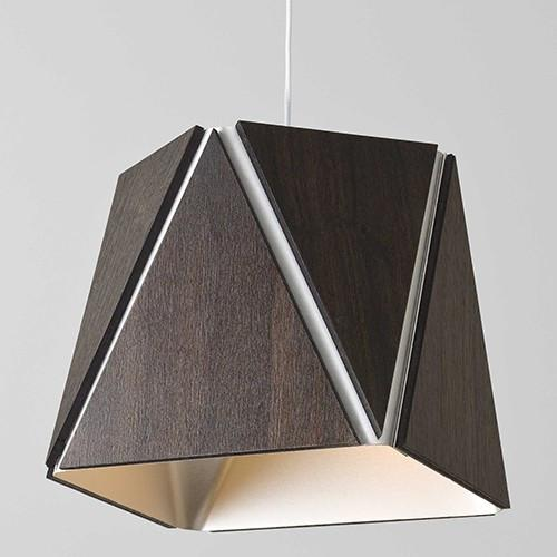 Calx Pendant in Dark Stained Walnut with Brushed Aluminum Finish