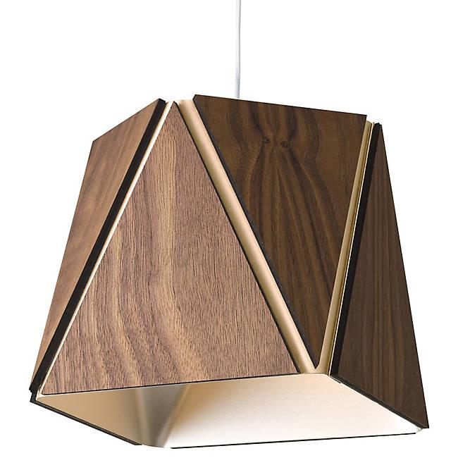 Calx Small LED Pendant - Oiled Walnut with Rose Gold Finish