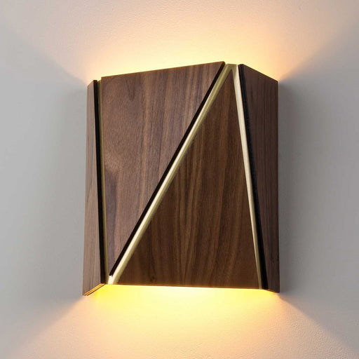 Calx LED Wall Sconce - Oiled Walnut with Brushed Brass Finish