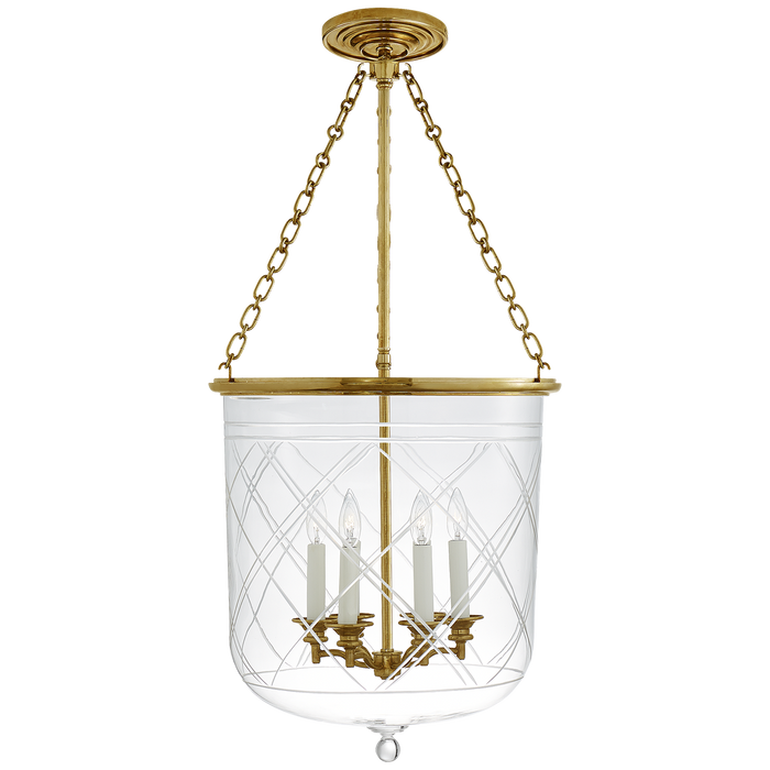 Cambridge Large Smoke Bell Pendant - Natural Brass Finish