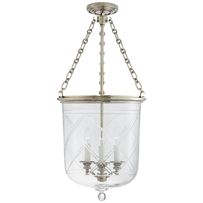 Cambridge Medium Smoke Bell Pendant - Butler's Silver Finish