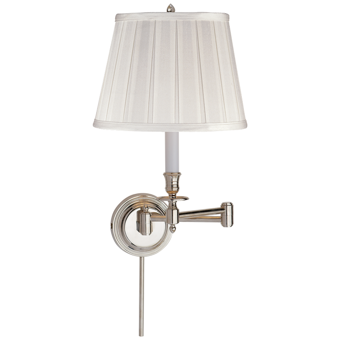 Candlestick Swing Arm - Polished Nickel/Silk Shade