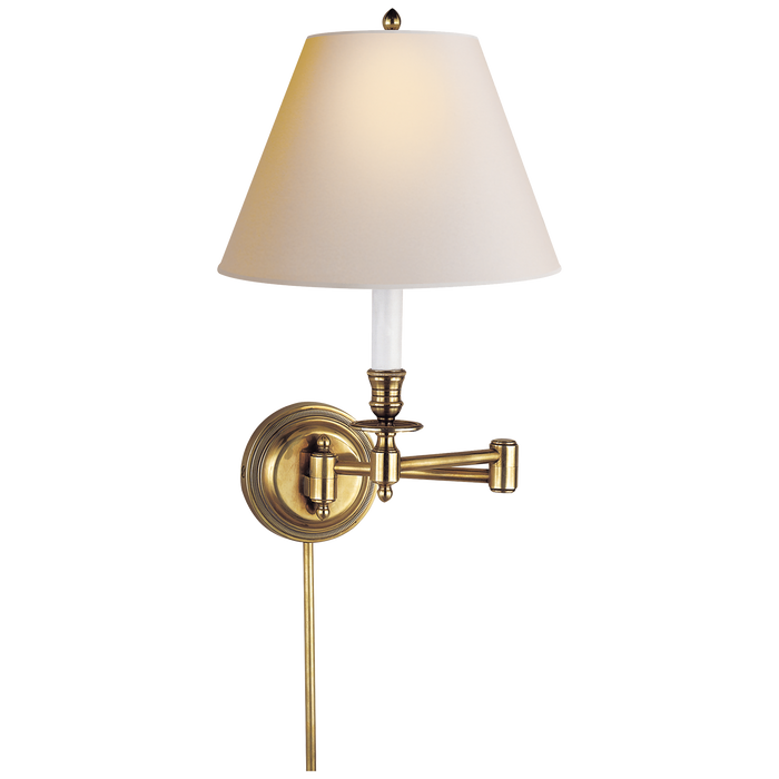 Candlestick Swing Arm - Hand-Rubbed Antique Brass/Paper Shade