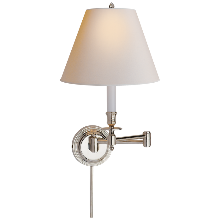 Candlestick Swing Arm - Polished Nickel/Natural Paper