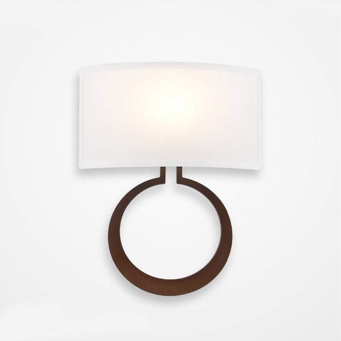 Carlyle Circlet Linen Wall Sconce - Bronze Finish