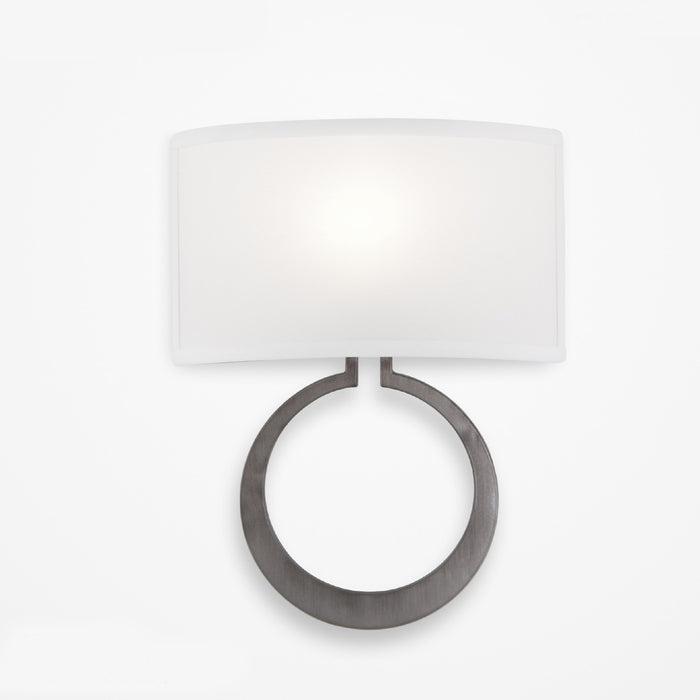 Carlyle Circlet Linen Wall Sconce - Satin Nickel Finish
