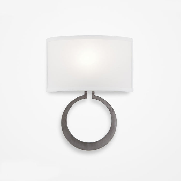Carlyle Circlet Linen Wall Sconce - Gunmetal Finish