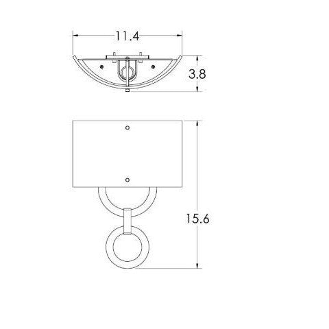 Carlyle Round Link Linen Wall Sconce - Diagram