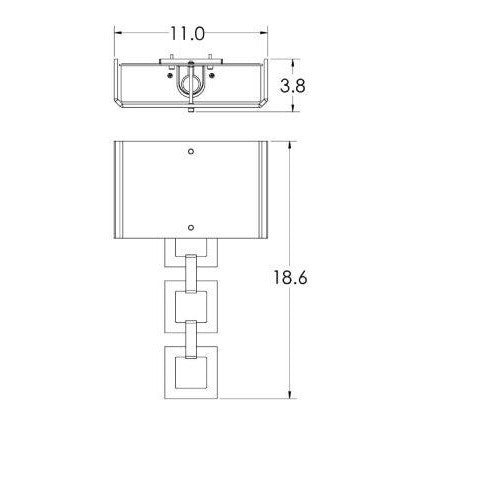 Carlyle Square Link Linen Wall Sconce - Diagram