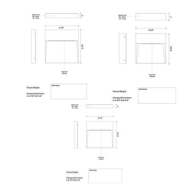 Casa Square LED Outdoor Wall Sconce - Diagram