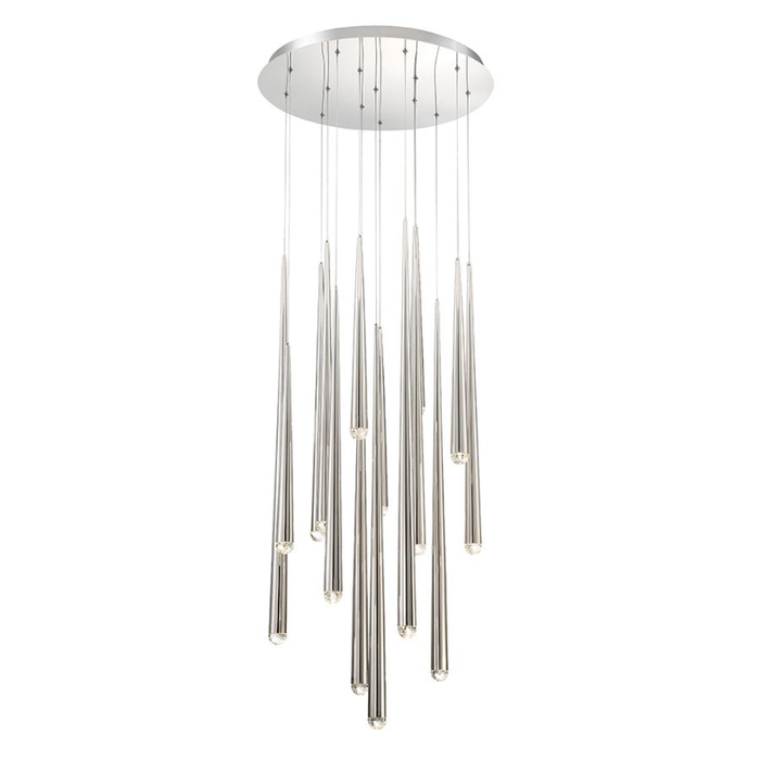 Cascade 15-Light LED Round Chandelier - Polished Nickel