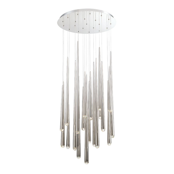 Cascade 21-Light LED Round Chandelier - Polished Nickel