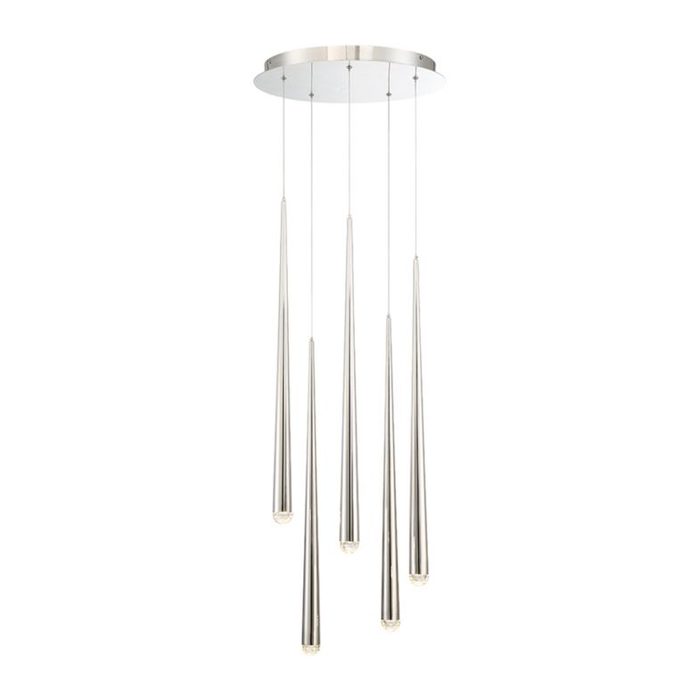 Cascade 5-Light LED Round Chandelier - Polished Nickel