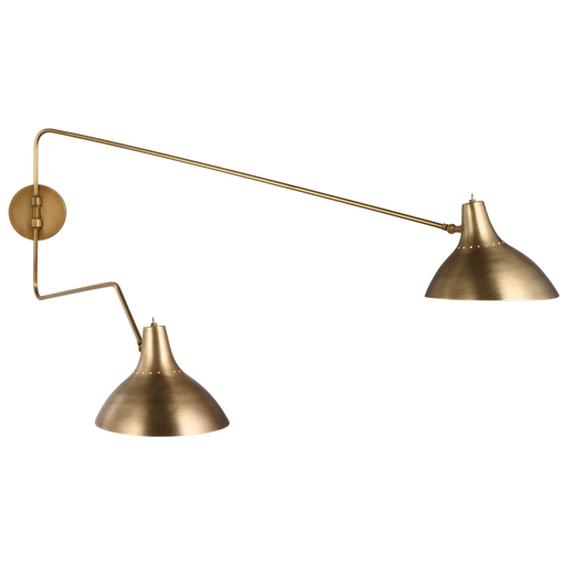 Charlton Large Double Wall Light - Hand-Rubbed Antique Brass Finish