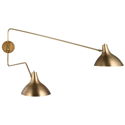 Charlton Large Double Wall Light - Hand-Rubbed Antique Brass