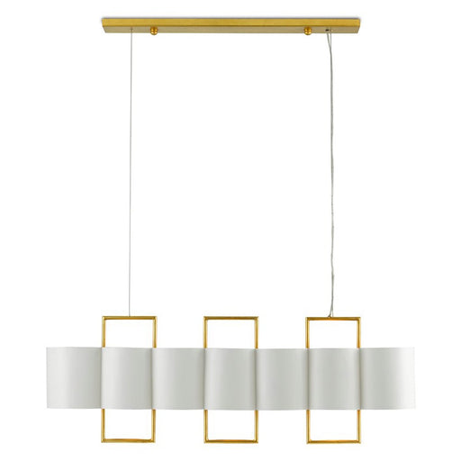 Chaunce Linear Chandelier - White/Gold Leaf Finish