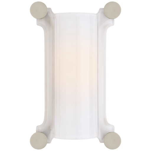 Chirac Small Sconce - Polished Nickel & White Glass