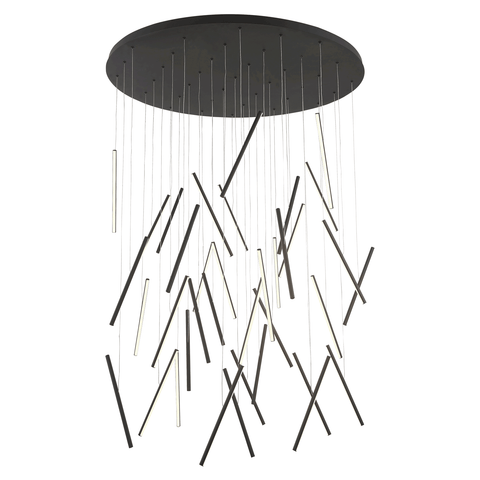 Chute LED Round Multi-Light Pendant - Black Finish