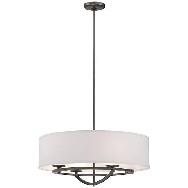 Circuit Large Pendant Light - Smoked Iron Finish and White Fabric Shade with Interior Etched Opal glass