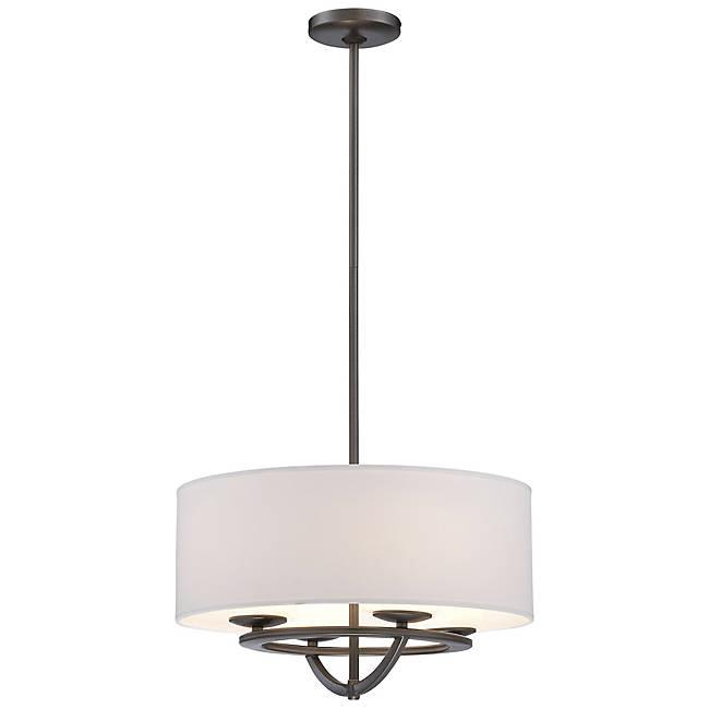 Circuit Small Pendant Light - Smoked Iron Finish and White Fabric Shade with Interior Etched Opal glass