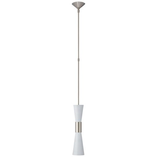 Clarkson Medium Narrow Pendant - Polished Nickel/White Finish