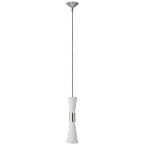 Clarkson Medium Narrow Pendant - Polished Nickel/White