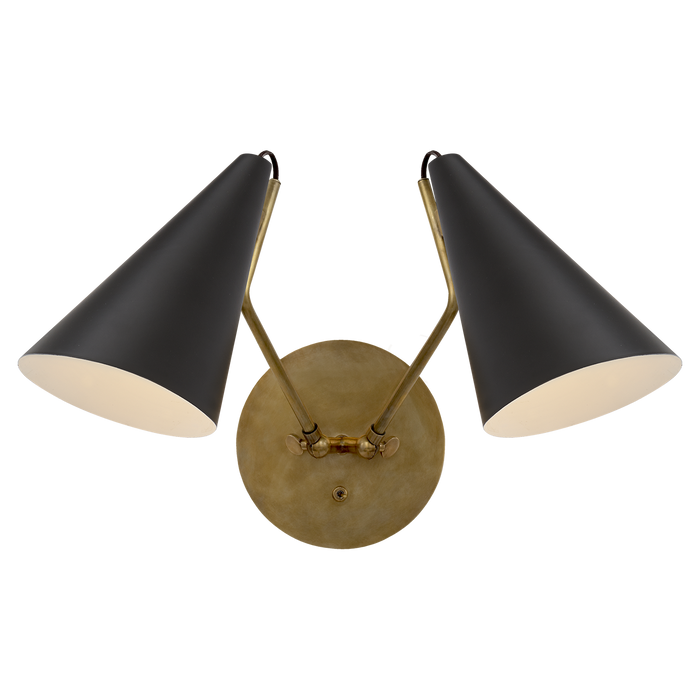 Clemente Double Sconce - Matt Black Finish