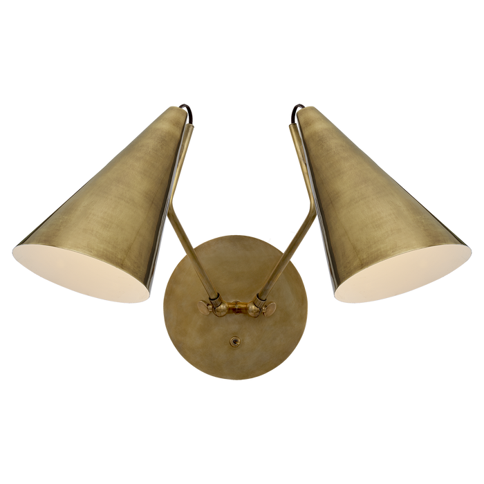 Clemente Double Sconce - Hand-Rubbed Antique Brass Finish