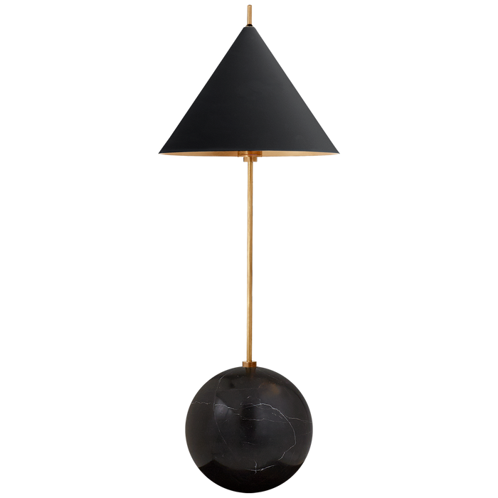 Cleo Orb Base Accent Lamp - Antique =-Burnished Brass with Black Shade