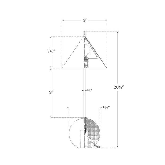 Cleo Orb Base Accent Lamp - Diagram
