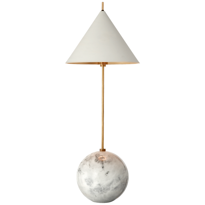 Cleo Orb Base Accent Lamp - Antique-Burnished Brass with White Shade