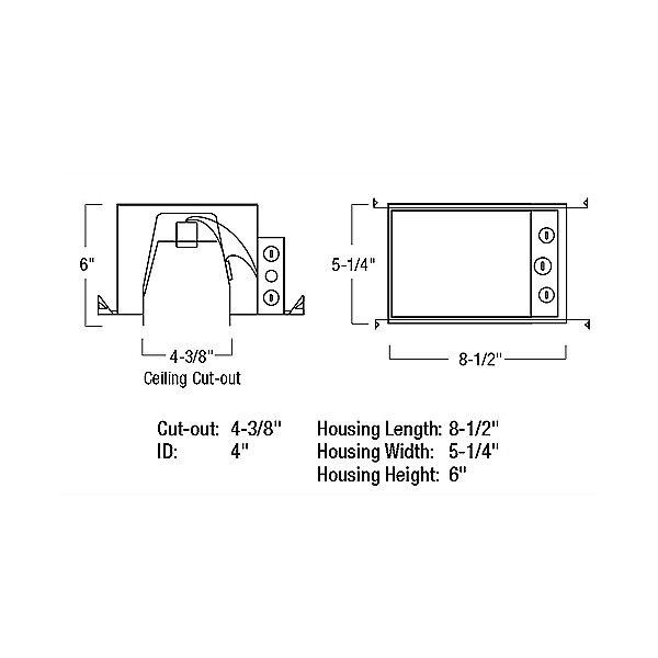 "Cobalt 4"" IC Air-Tight Line Voltage Double Wall New Construction Housing - Diagram"