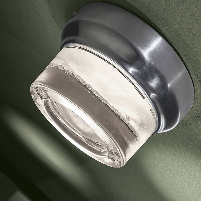 Comet Outdoor LED Wall Sconce - Brushed Aluminum on Display