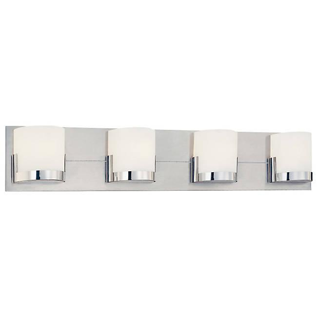 Convex 4-Light Bath Bar - Brushed Aluminum with Chrome Finish