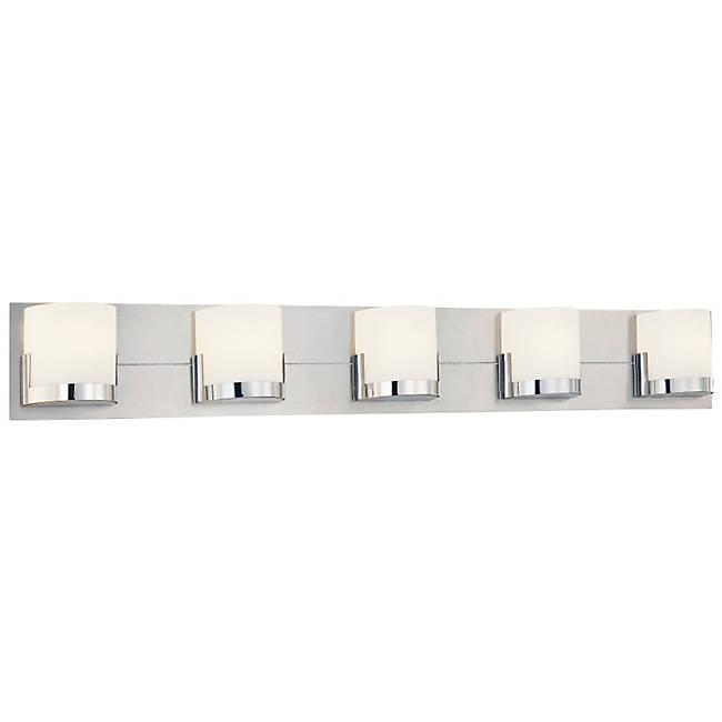 Convex 5-Light Bath Bar - Brushed Aluminum with Chrome Finish