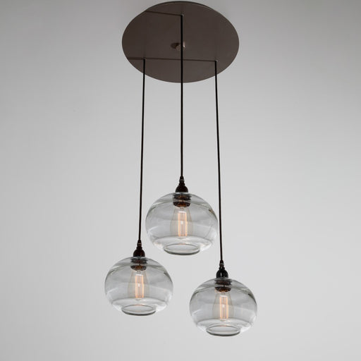 Coppa 3-Light Multipoint Pendant -  Flat Bronze/Optic Clear