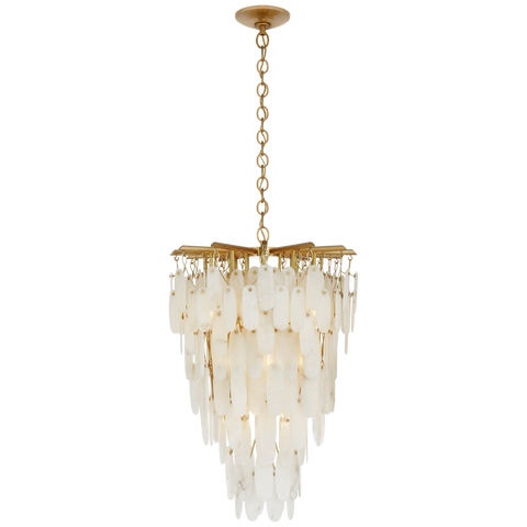 Cora Medium Tall Cascading Chandelier - Antique-Burnished Brass Finish