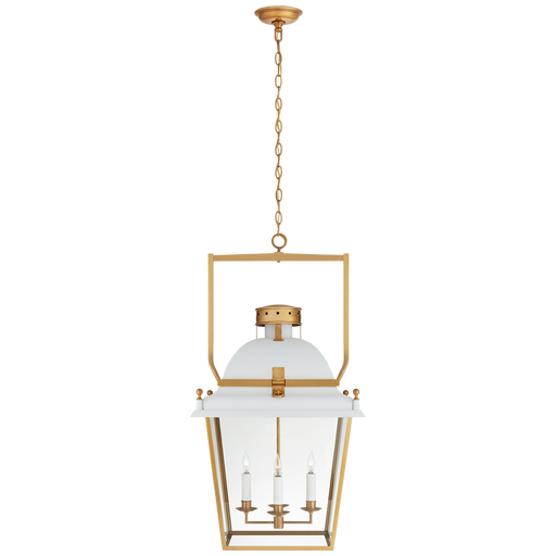 Coventry Large Lantern - Matte White/Antique-Burnished Brass Finish