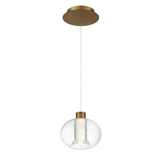 Crater LED Mini Pendant - Aged Brass Finish