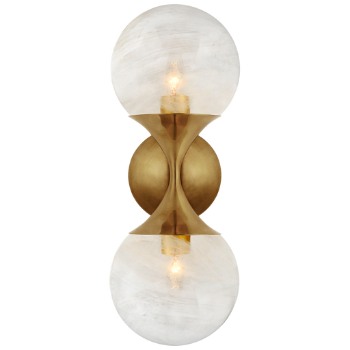 Cristol Small Double Sconce - Hand-Rubbed Antique Brass Finish