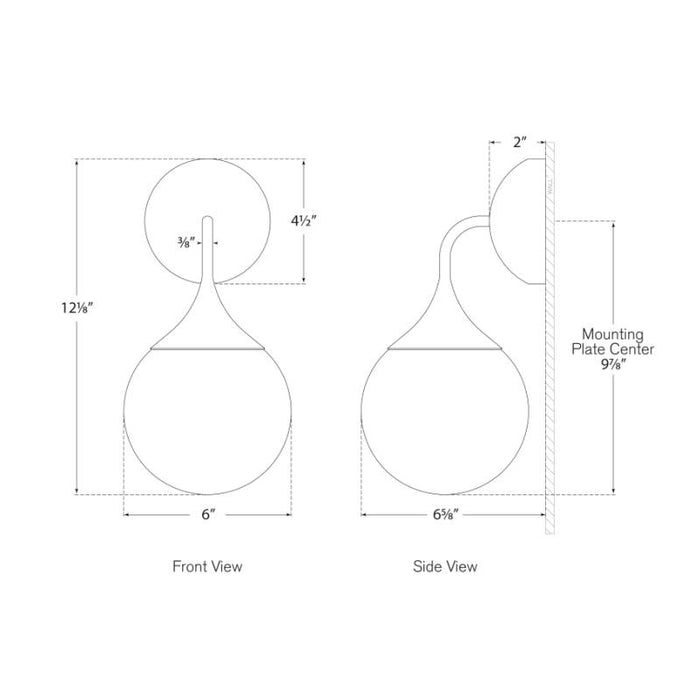 Cristol Small Single Sconce - Diagram
