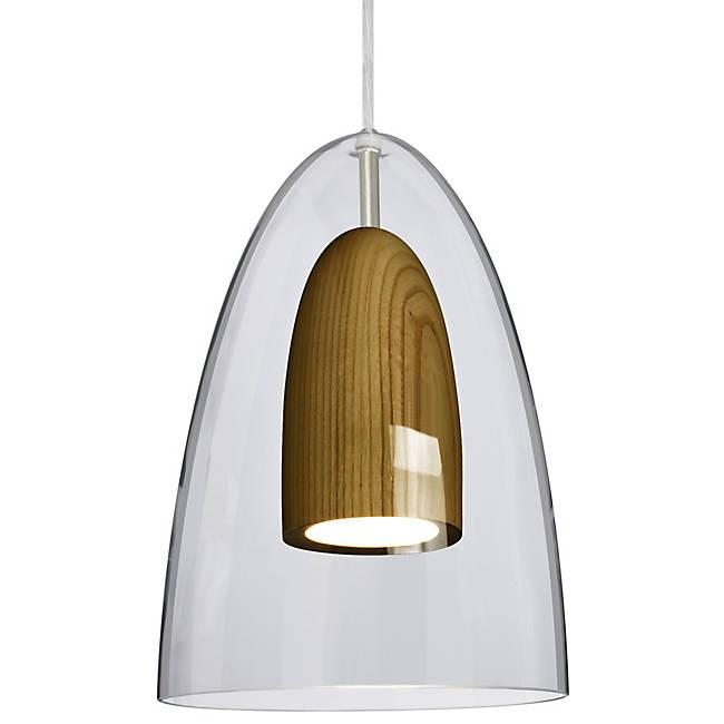 Dano LED Mini Pendant - Clear, Dark Wood, Satin Nickel