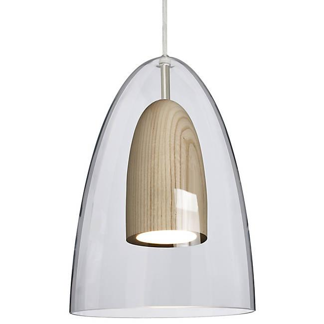 Dano LED Mini Pendant - Clear, Natural Wood, Satin Nickel
