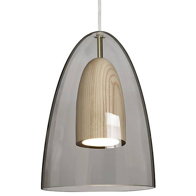 Dano LED Mini Pendant - Smoke, Natural Wood, Satin Nickle