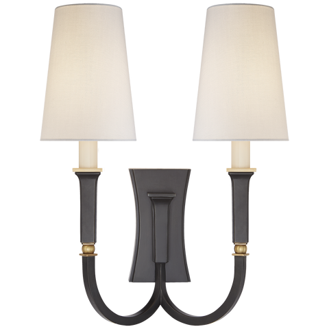 Delphia Large Double Arm Sconce Bronze Brass