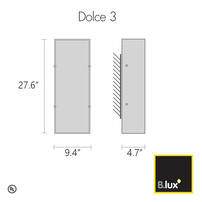 Dolce 3 ADA Wall Sconce - Diagram